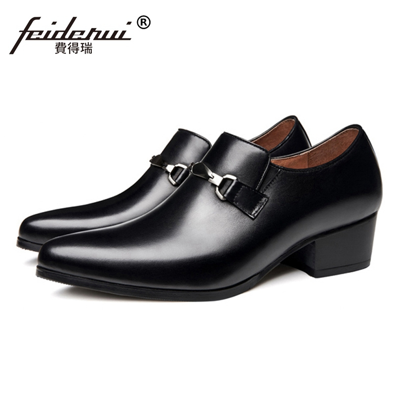 New Pointed Toe Slip on Man Metal Tipped Shoes Genuine Leather Pointed Toe High Heels Loafers