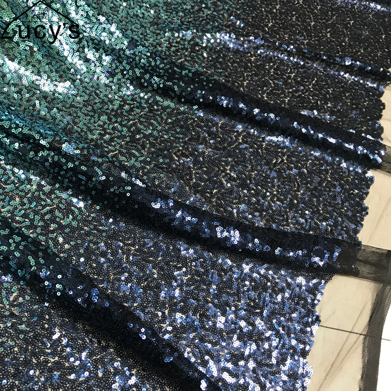 1 Yard Gradient color 3mm sequins fabric for women long gowns evening dress 5 Colors in stock Red Gold Green Blue Black