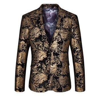 Velvet Silver Blazer Men Paisley Floral Jackets Wine Red Golden Stage Suit Jacket Elegant Wedding Mens Blazer Plus Size M-6XL 1