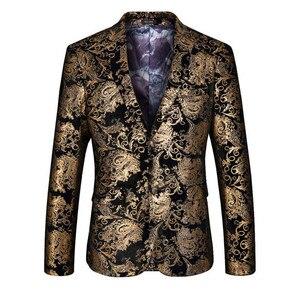 Image 2 - Velvet Silver Blazer Men Paisley Floral Jackets Wine Red Golden Stage Suit Jacket Elegant Wedding Mens Blazer Plus Size M 6XL