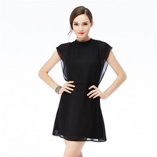2019 Popular Summer Women's Clothing Lotus Leaf Edge Fashion Simple Body Trim Sleeveless Chiffon Dress недорго, оригинальная цена