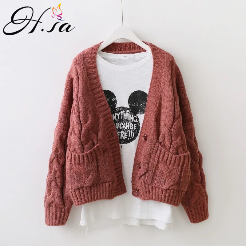 H.SA Women Spring Cardigans Open Stitch Knitted Outerwear Twisted Oversized Sweater Cardigans Long Sleeve Casual Poncho Jacket