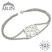 a20e292fe81b Monogram Bracelet With Doubel Chain Silver Layered Monogram Initial  Bracelet Mother S Day Gift