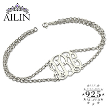 Sterling Silver Monogram Bracelet With Double Chain Initial For Women Best Gift Friends