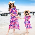 Free Shipping New summer Red chiffon dress Family mother daughter dresses beach dress beautiful party belt long dresses
