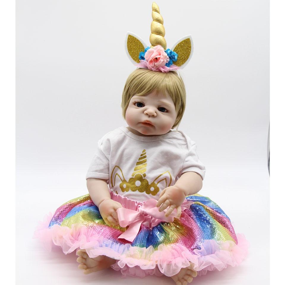 الأزياء 23 ''57 سنتيمتر واقعية فتاة تولد من جديد دمية سيليكون كامل الجسم الوليد الطفل دمية للأطفال عطلة عيد ميلاد هدايا دش لعبة-في الدمى من الألعاب والهوايات على  مجموعة 1