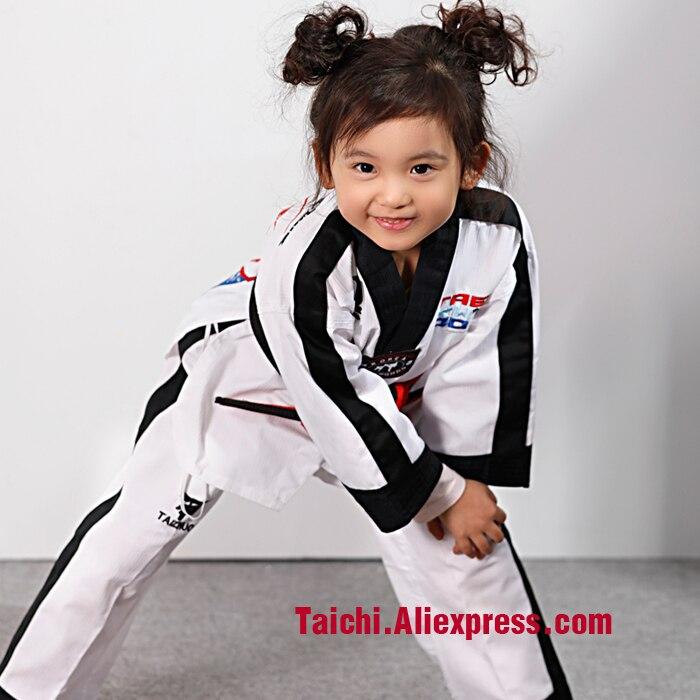Children TKD Uniform  ChildrenAdult Taekwondo Clothing Size 110cm-155 Cm Free Shipping