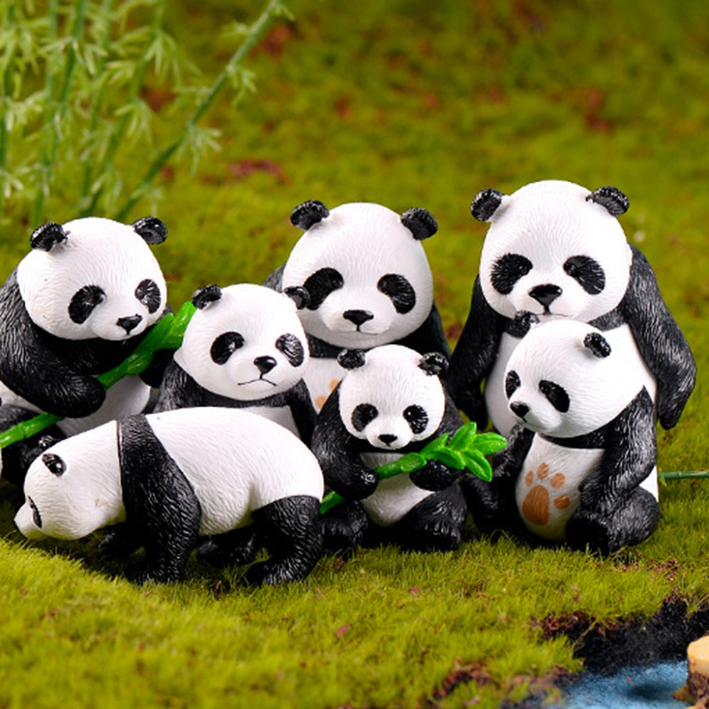 OOTDTY 1 Pc Miniature Resin Pandas Garden Plant Flower Pot Bonsai Dollhouse Decoration Style Random