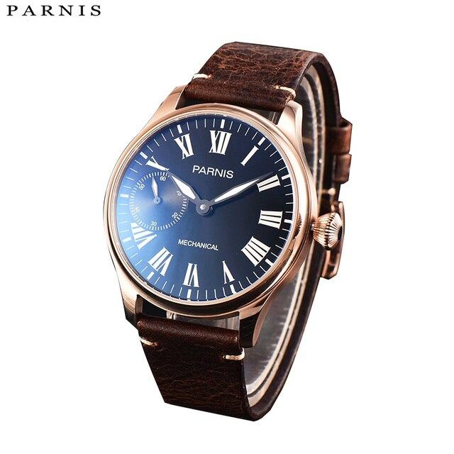2017 numéro 44mm Parnis hommes montre Top marque montre à la main remontage à la main montres mécaniques 17 bijoux montre-bracelet