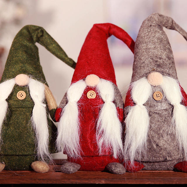 Christmas Gnome Decor.Us 10 04 Christmas Gnome Plush Desktop Ornaments Mini Standing Spirit Doll With Knotted Beard For Home Bar Christmas Decor Ornament In Pendant
