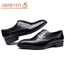 GRIMENTIN Basic designer casual carved men's shoes oxford genuine leather vintage handmade black casual shoes brand flats male