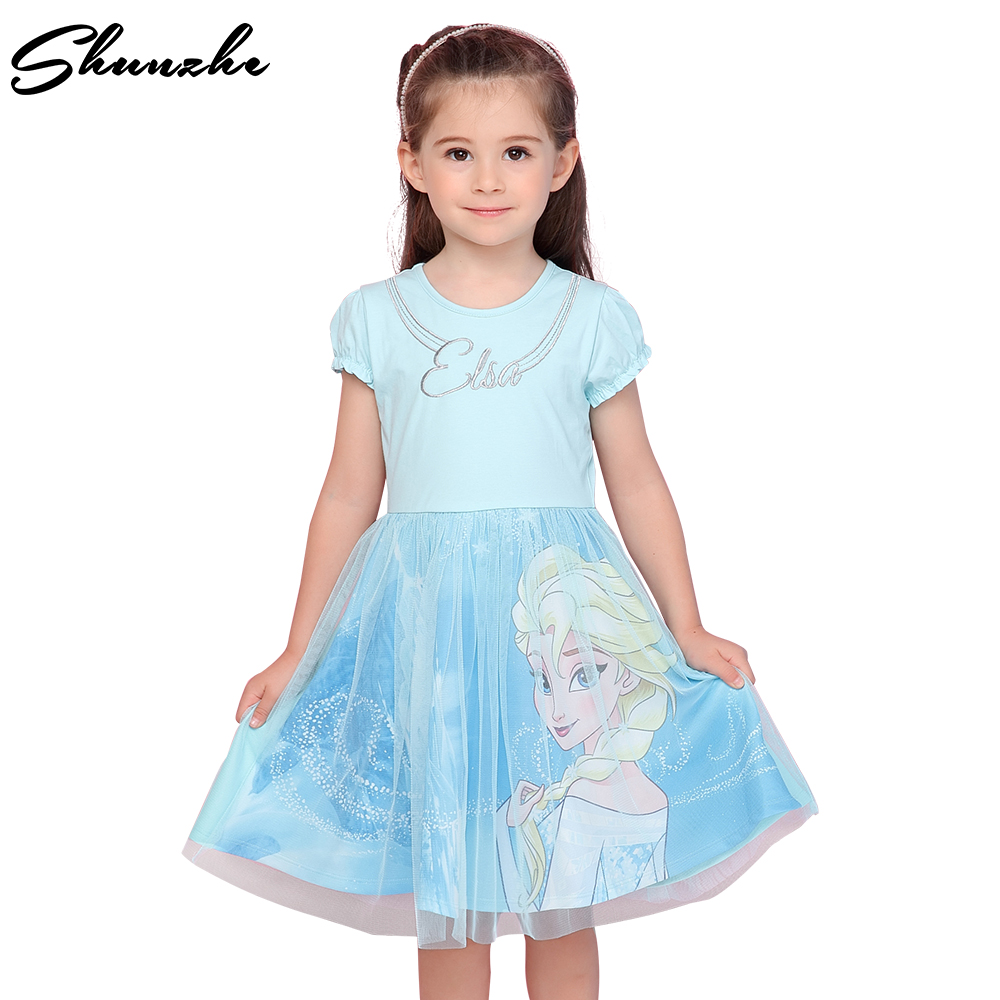 2018 Summer Princess Girl Dress FROZEN Elsa Baby Girls Outfit Wedding Party Dress Children Cartoon Cotton Toddler Kids Dress lovely toddler kids baby girl summer dress bunny ear short sleeve hooded outfit one pieces princess children dresses sundress