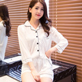 New Sexy Two-piece Women's Pajama Sets Thin Rayon Ice Silk Lace Shirt Shorts Female  Pyjama Nightgowns Sleep Lounge
