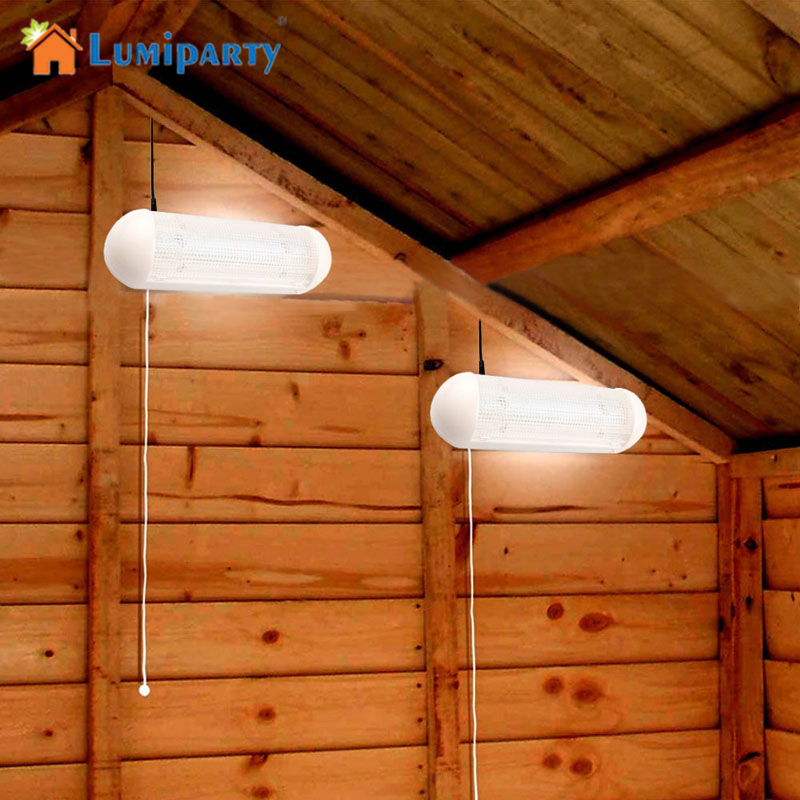 Lumiparty 1 To 2pcs Solar Garden Light 5-LED Wall Lamp Cool White Rechargeable With Pull Cord Switch For Garage Courtyard