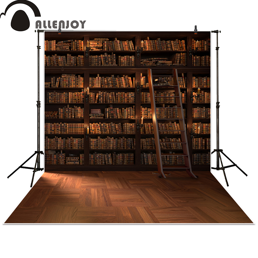 Allenjoy photography backdrops Library Bookshelf school student study room books photocall baby shower riggs r library of souls