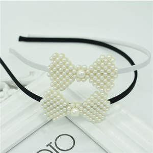 New cute girl imitation pearl headband female popular hot sale bow personality hair accessories