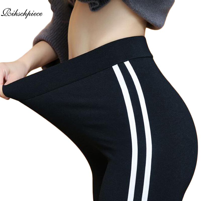 Rihschpiece 2018 Plus Size 6XL   Leggings   Women Side Striped   Legging   High Waist Christmas Gothic Black Leggins Pants RZF1484