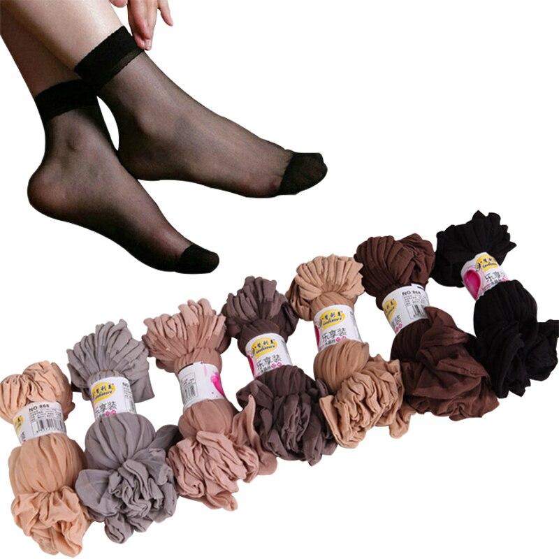 10airs Wholesale Women Summer Sexy Ultrathin Transparent Crystal Silk Socks High Elastic Skin Color Nylon Short Socks Female