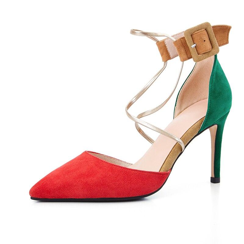 Pour Mary Pompes Hauts Bout Pointu 9 rouge Eshtonshero De Chaussures Mince Talons forme Janes Élégant Mariage multicolor Femmes 3 Dames Noir Plate Femme Taille qtwwA6d