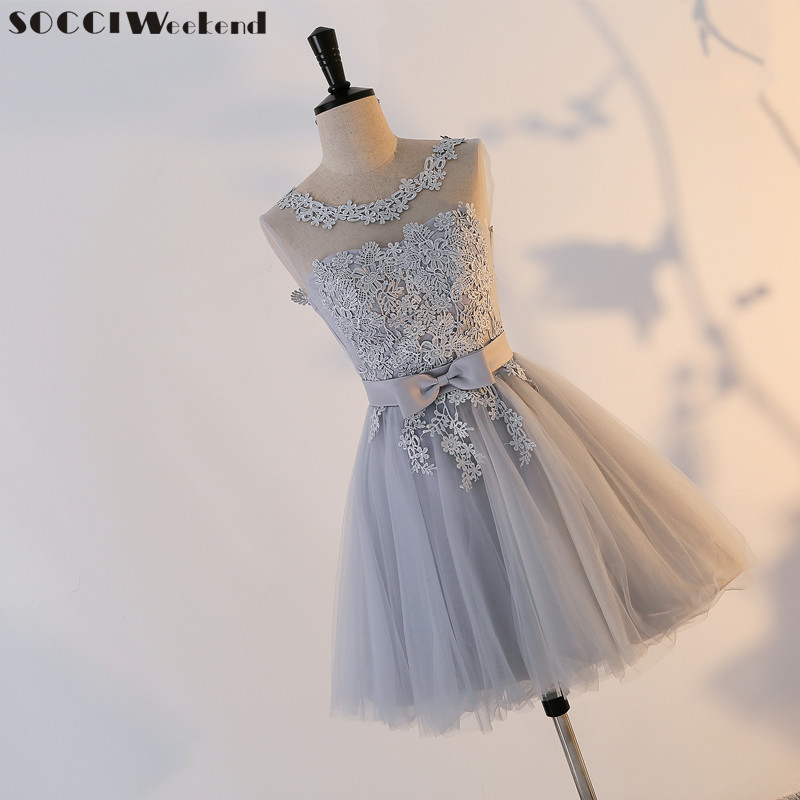 SOCCI Weekend Short Homecoming Dresses Grey Sexy Backless Lace Up Prom Gown Formal Women Occasion Party Dress Robe De Soiree New(China)
