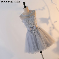 SOCCI Weekend Short Homecoming Dresses Grey Sexy Backless Lace Up Prom Gown Formal Women Occasion Party Dress Robe De Soiree New