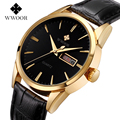 WWOOR Brand Relogio Masculino Genuine Cow Leather Band Male Auto Date Clock Men Casual Quartz Watch With Japan Al33A Movement
