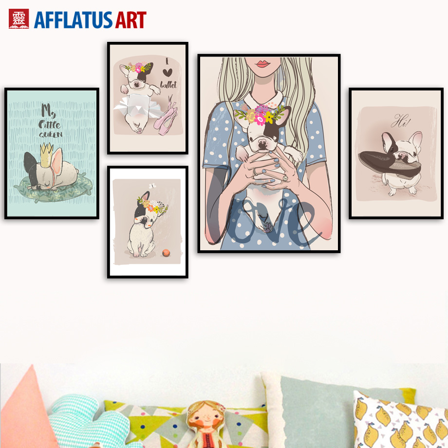 Crown Ballet Girl Dog Wall Art Canvas Painting Watercolor Nordic Posters And Prints Animals Pictures For Living Room Decor