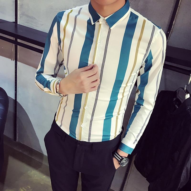High Quality Spring New Shirt Men 2018 Slim Fit Striped Tuxedo Shirt Long Sleeve Casual Work Shirt Social Male chemise homme 2XL