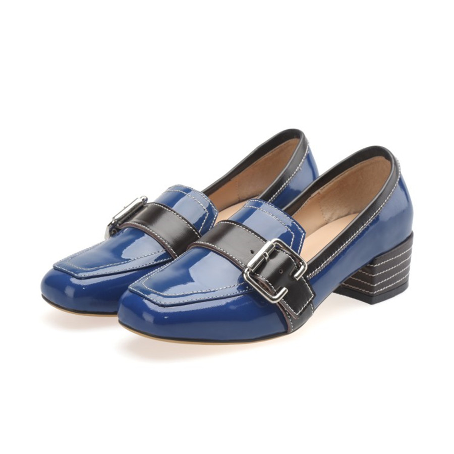 ФОТО Comfortable to wear,Fashion modelNew women's shoes European and American street photography the first layer leather chunky heels