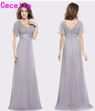 2018 Silver Ruched Chiffon V Neck A-lline Beach Long Modest Bridesmaid  Dresses With Sleeves Floor Length Wed Party Dress c253f90251