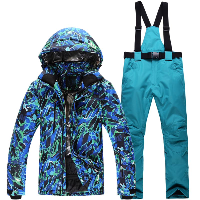 Man/Woman Snowboarding Clothes Winter Snow Suit Outdoor Sports Waterproof Thick -30 Warm Costume jackets+pants Ski suit sets 40 man snow pants professional snowboarding pants waterproof windproof breathable winter outdoor camouflage ski suit trousers