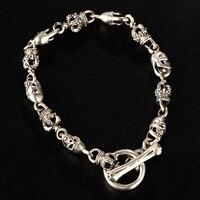 Real 925 Sterling Silver Skull Crown Bracelet for Men Women Skeleton Charm Thai Silver Cool Bracelets Fine Jewelry Birthday Gift