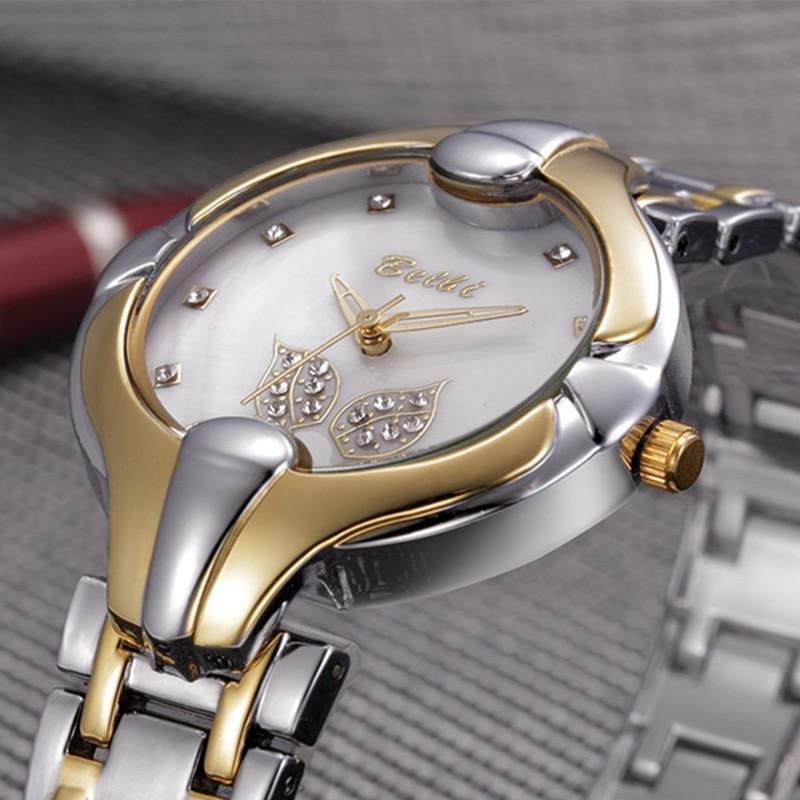 Hoja de oro Diseño de esfera Relojes de pulsera de lujo para mujeres - Relojes para hombres - foto 3