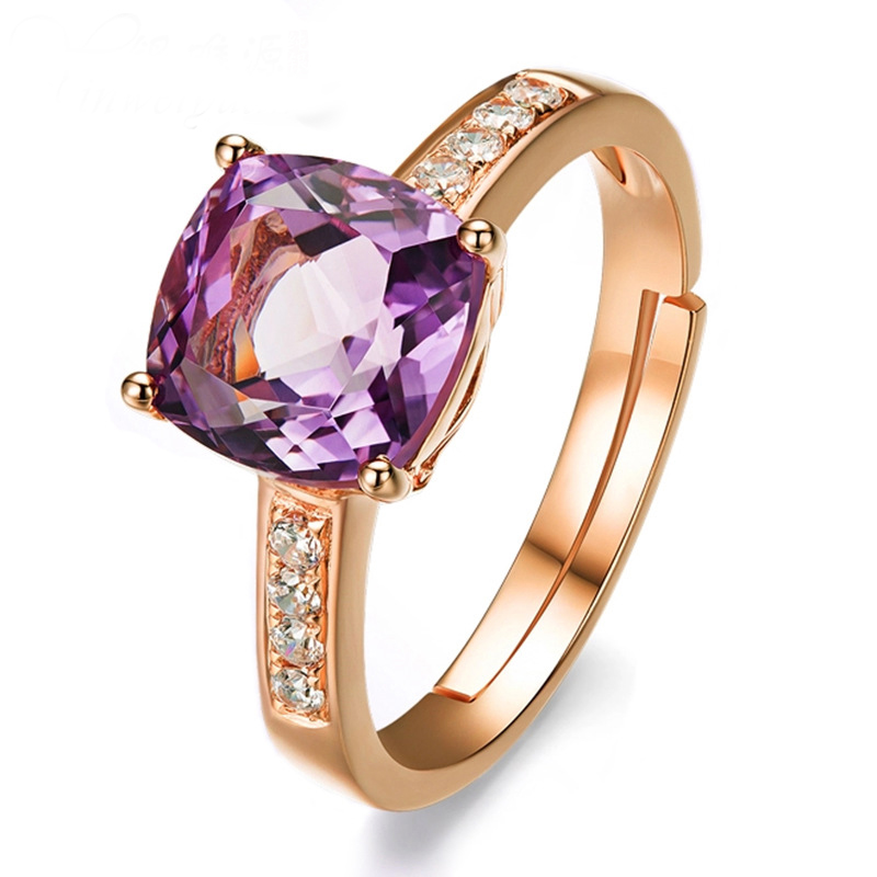 Fashion Red Purple crystal Ring Opening Rose Gold Ring for Women prom Jewelry Girlfriend Gift 2019 New