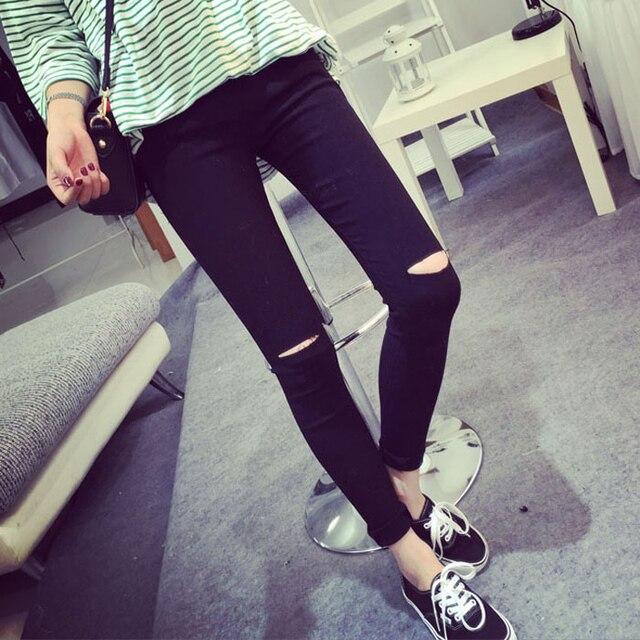 2017 High Elastic Fashion Cotton Womens Black High Waist Torn Jeans Ripped Hole Knee Skinny Pencil Pants Slim Capris For Women