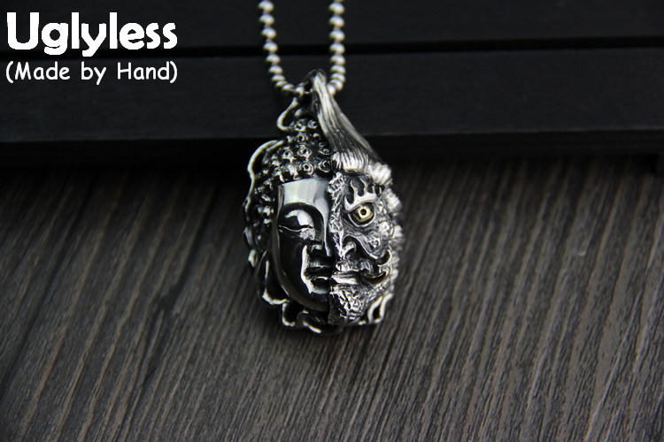 Uglyless Real 925 Sterling Silver Half Buddha Half Devil Buddhism Pendant Necklaces without Chains Thai Silver Handmade NecklaceUglyless Real 925 Sterling Silver Half Buddha Half Devil Buddhism Pendant Necklaces without Chains Thai Silver Handmade Necklace