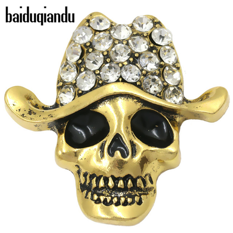 Baiduqiandu Marca Antique Gold Plated Crystal Rhinestone Hat y Black Eye Enamel Skull Skeleton Broche Pins para Hombres
