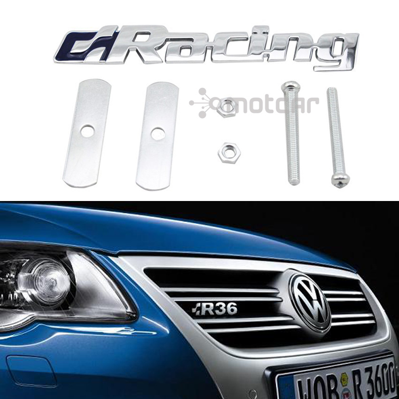 Universal Fit Car Styling 3D Metal Racing Logo Front Hood Grille Badge Grille Emblem Auto Stickers Car Decal For Volkswagen POLO m motorsport m power car front hood grille emblem led light for bmw universal