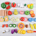Pretend Play Classic Toys Wooden Play Fruit and Vegetables Simulation Kitchen Toys Paste Sheet Hobbies for 2-6 years old