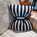 Hot Toys 27cm*19cm kids Bow Pillows Black and White Striped Neck Pillow Decorative Soft Pillow for Kids Room Cute Ribbon Cushion
