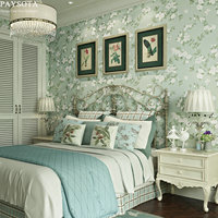 PAYSOTA Pastoral Floret Green Non Woven Wallpaper Bedroom Living Room Sofa Background Wall Paper