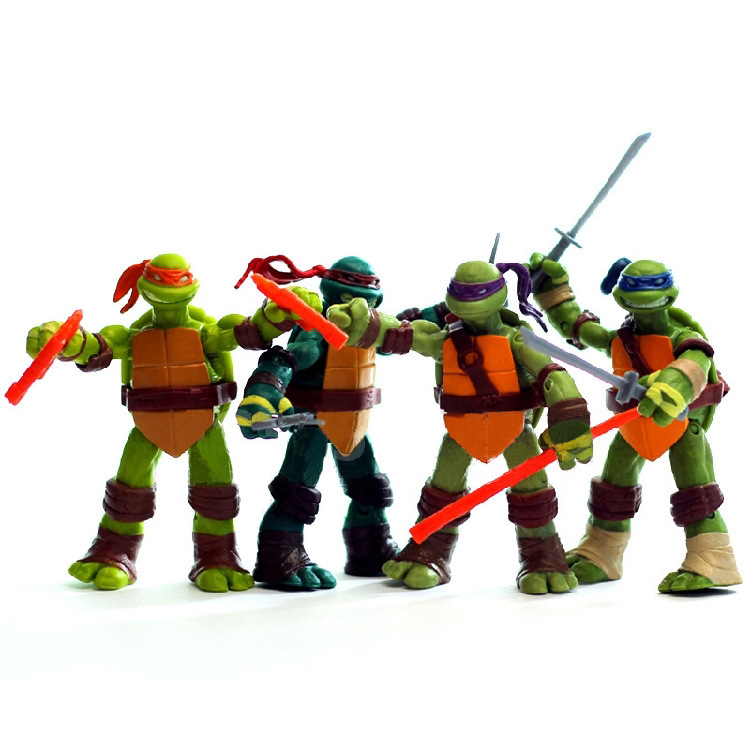 4 Ninja Hero With Base Beautiful Car Office Decoration Cool Turtle Party Birthday Gift Toy Model