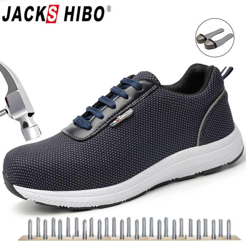 JACKSHIBO Mens Safety Work Shoes Steel Toe Safety Boots Plus Size Men Solid Puncture Proof Boots Breathable Protective ShoesJACKSHIBO Mens Safety Work Shoes Steel Toe Safety Boots Plus Size Men Solid Puncture Proof Boots Breathable Protective Shoes