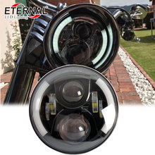 цена на free DHL one pair--80W round 7in universal led headlight wrangler rubicon CT TJ JK FJ Miata 4x4 off road led headlight