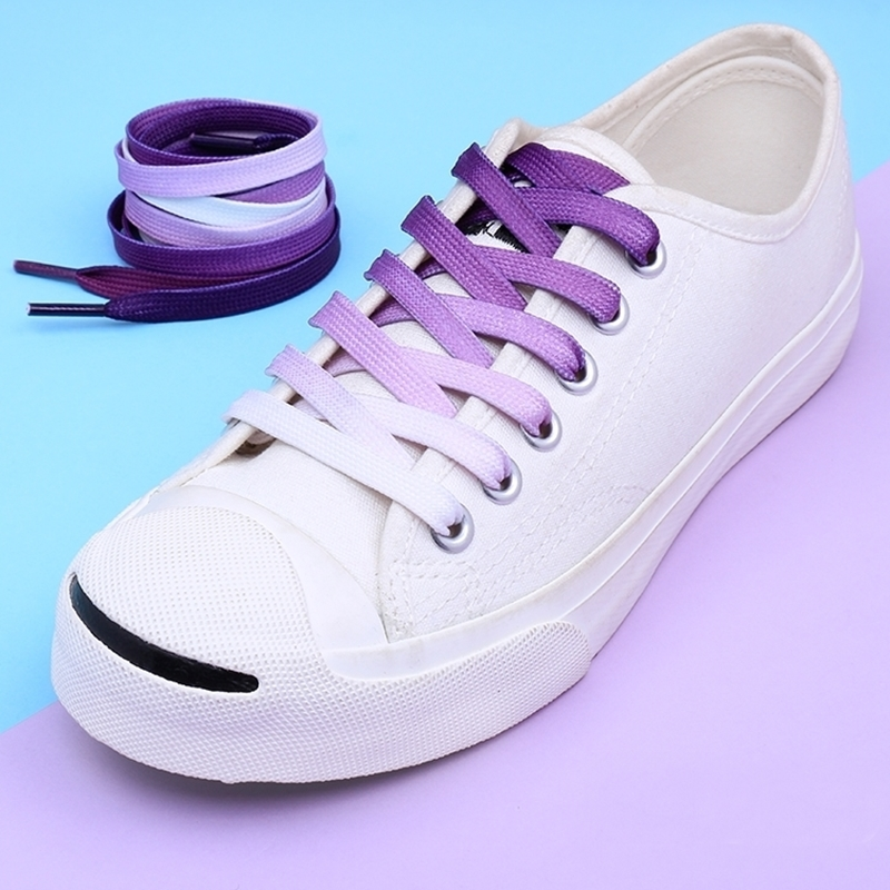 95cm Flat Color Gradient Changing Colors Shoe Laces Rainbow Print Flat Canvas Shoelace Shoes Casual Chromatic Colour Shoelaces