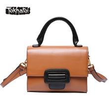 Tokharoi Marke Design Reales Kuhleder Frauen Luxus Handtasche Hohe Qualität Kleine Trage Haspe Solide Schultertasche Boston Handtasche 2017