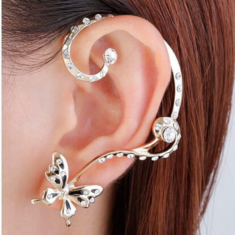 2016 Korean style fashion personality butterfly ears hanging crystal earrings lovely girl puncture butterfly earrings jewelry
