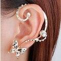 2016 estilo Coreano moda personalidade borboleta ouvidos pendurados brincos de cristal linda menina punção brincos borboleta jóias