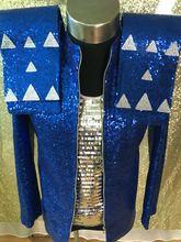 Customized Plus Size S 4XL Men Jacket Sequin Blazer Blue Bright Costume Singer Dance Prom Stage