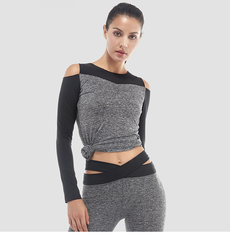 2017 Women Off Shoulder Yoga Top Full Sleeve Jersey